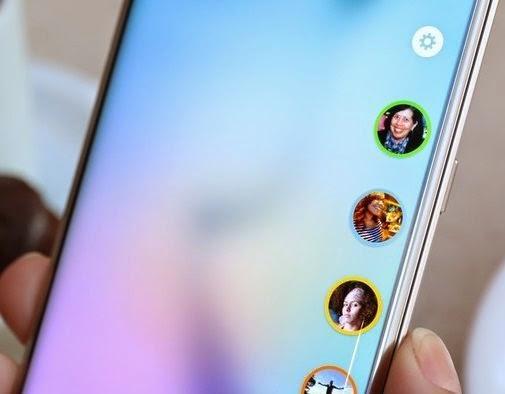 Detalhe dos ícones da tela curva do Galaxy S6 Edge