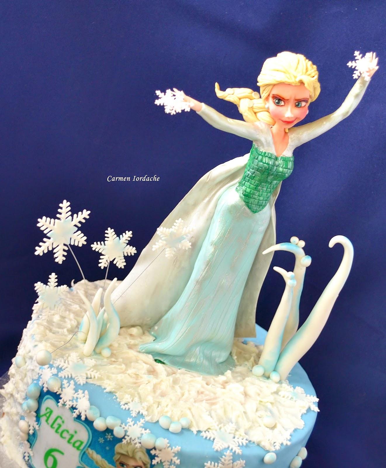Frozen : o tema pe care imi doream de mult sa o transpun intr-un tort ...