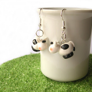 Cow earrings in polymer clay