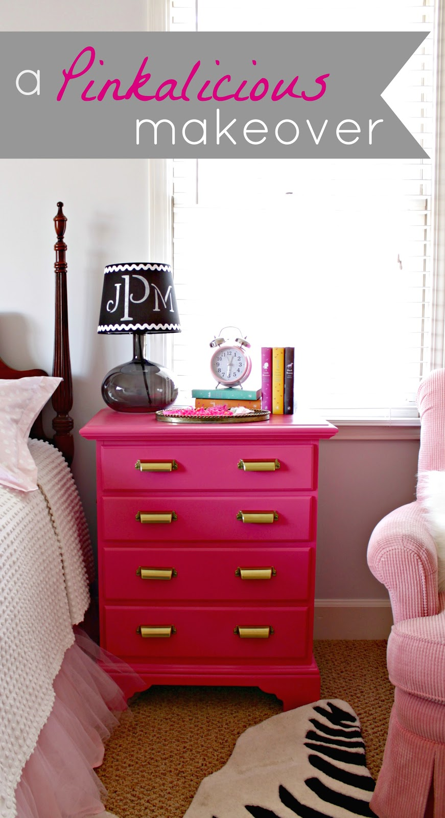 Pink night stand for Little girls nightstand