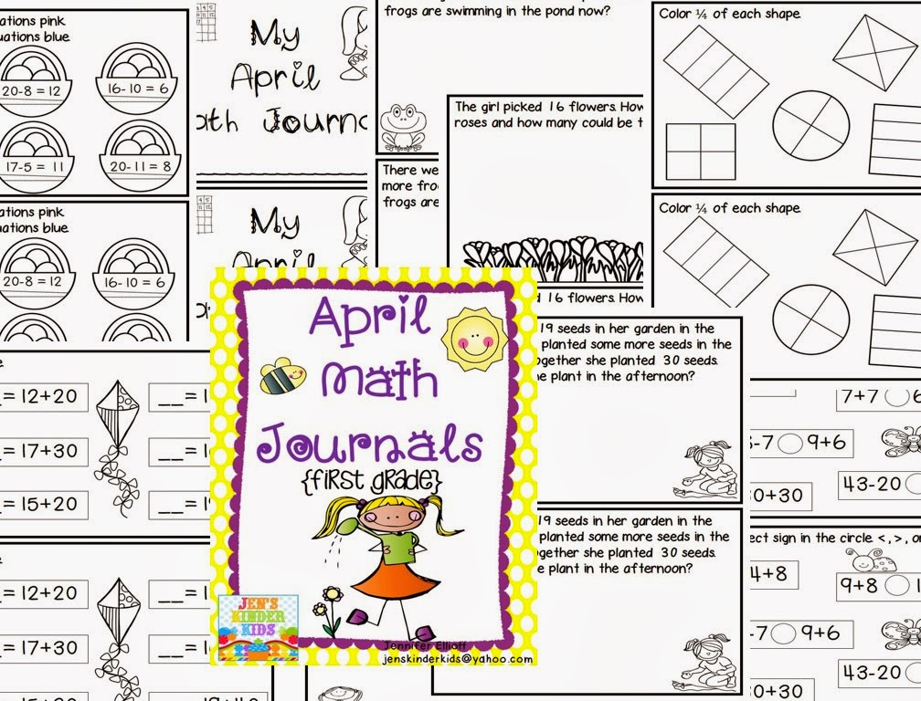 http://www.teacherspayteachers.com/Product/April-Math-Journals-First-Grade-1172502