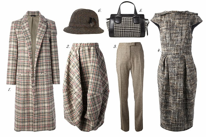Nomad Coat and Skirt, Veronique Branquinho Pants, Stella Jean Dress, Weekend MaxMara Bag, Viyella Harris Hat, Tweed
