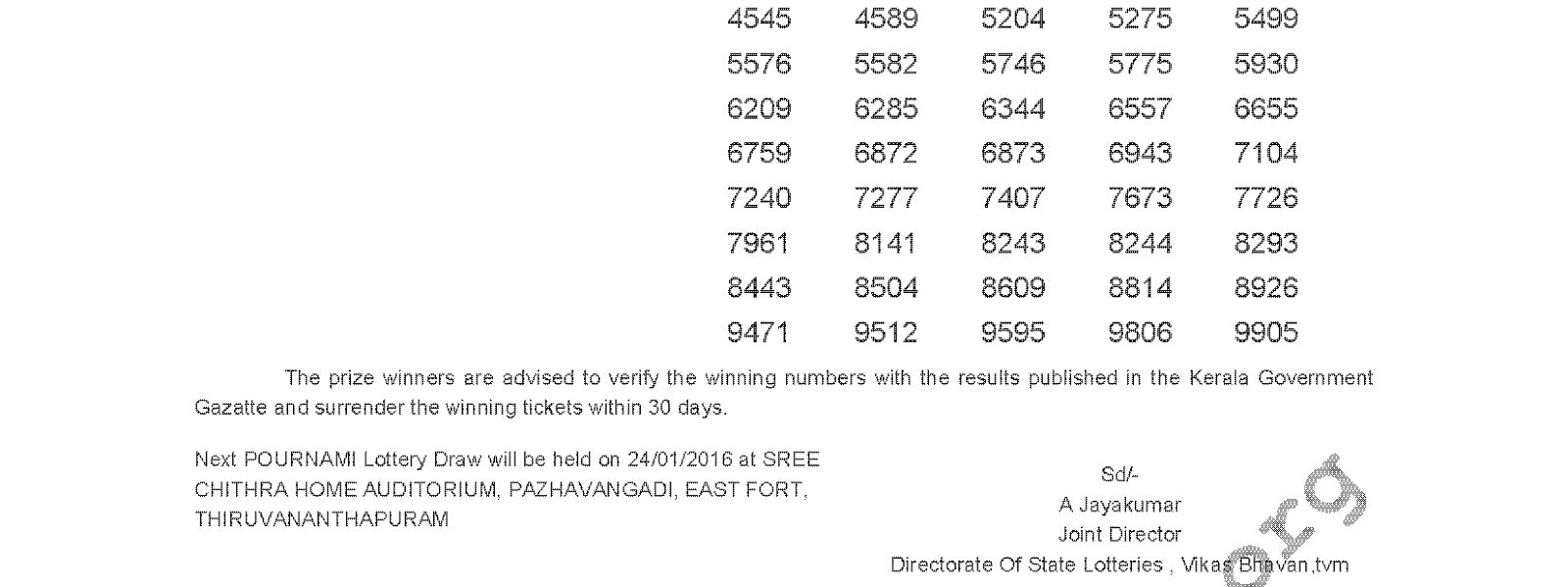POURNAMI Lottery RN 220 Result 17-01-2016