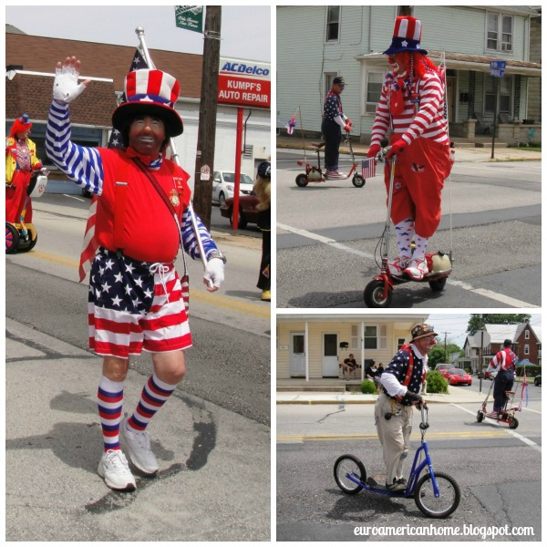 How to celebrate Memorial day in small town America - clowns collage