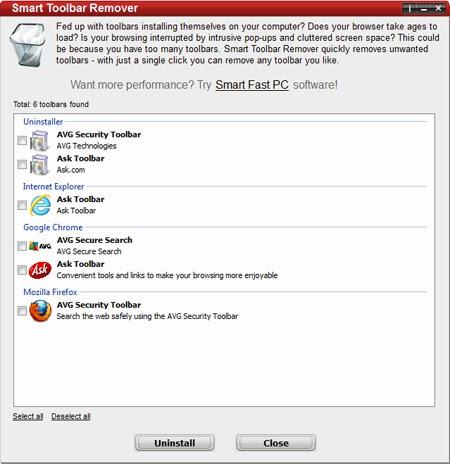 برنامج مجاني للتخلص من وإزالة أشرطة الأدوات المزعجة من المتصفح Smart Toolbar Remover free