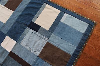 brown aqua cream baby quilt girl denim polka dot crib blanket