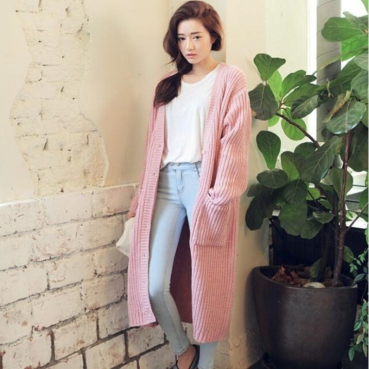 Model Cardigan Rajut Panjang Korea Murah