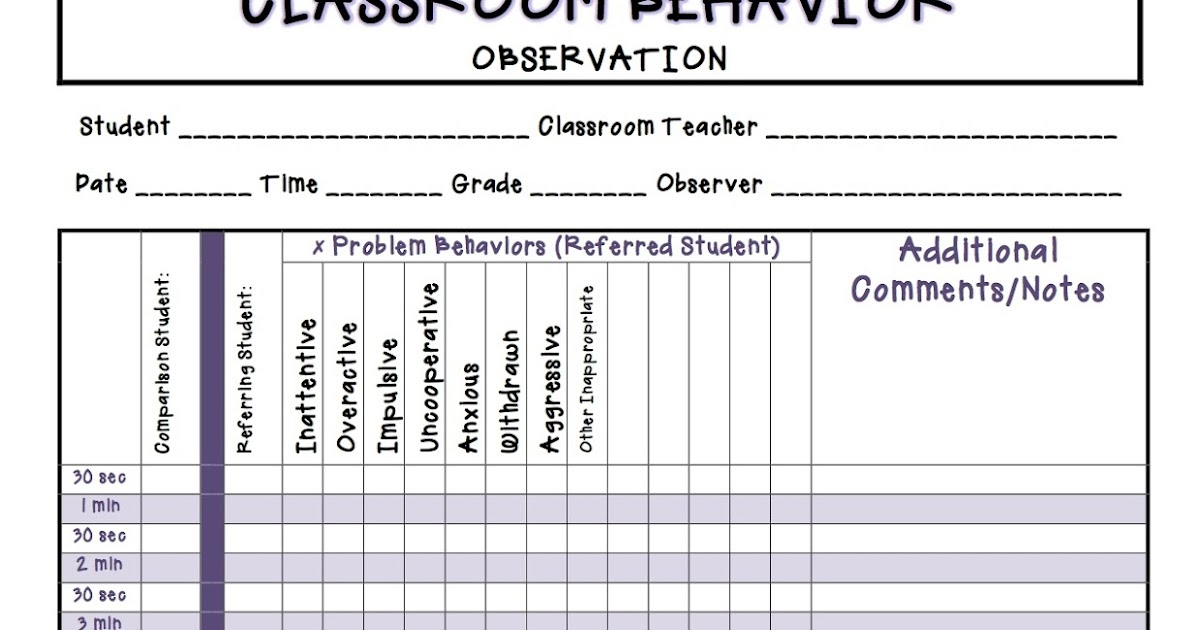 Two Can Do It: Classroom Behavior Observation