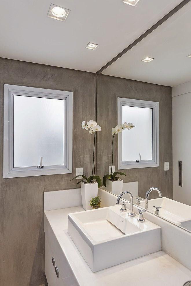 Blog de Decoração Perfeita Ordem Banheiros e lavabos em cimento queimado -> Banheiro Com Banheira De Cimento