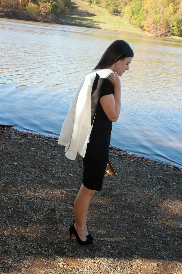 little black dress, white blazer