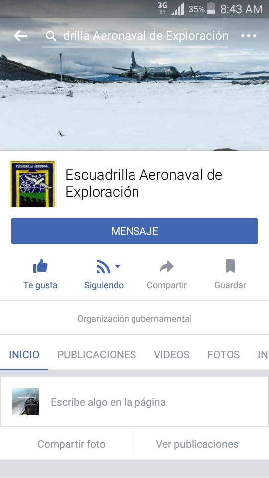 La Escuadrilla Aeronaval de Exploración en facebook
