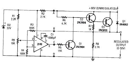 electronics circuit application   0v to 50 volt variable