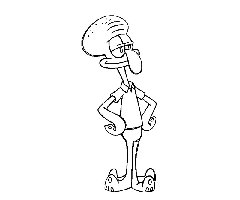 Squidward Free Colouring Pages