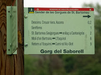 Rètol indicador al Gorg del Saborell