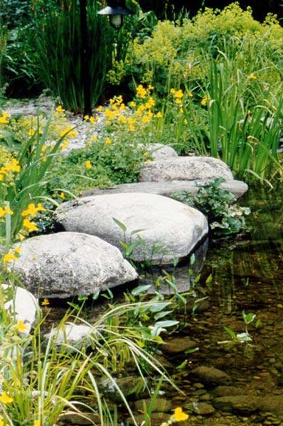 Weg über den Teich aus Trittsteinen im flachen Wasser