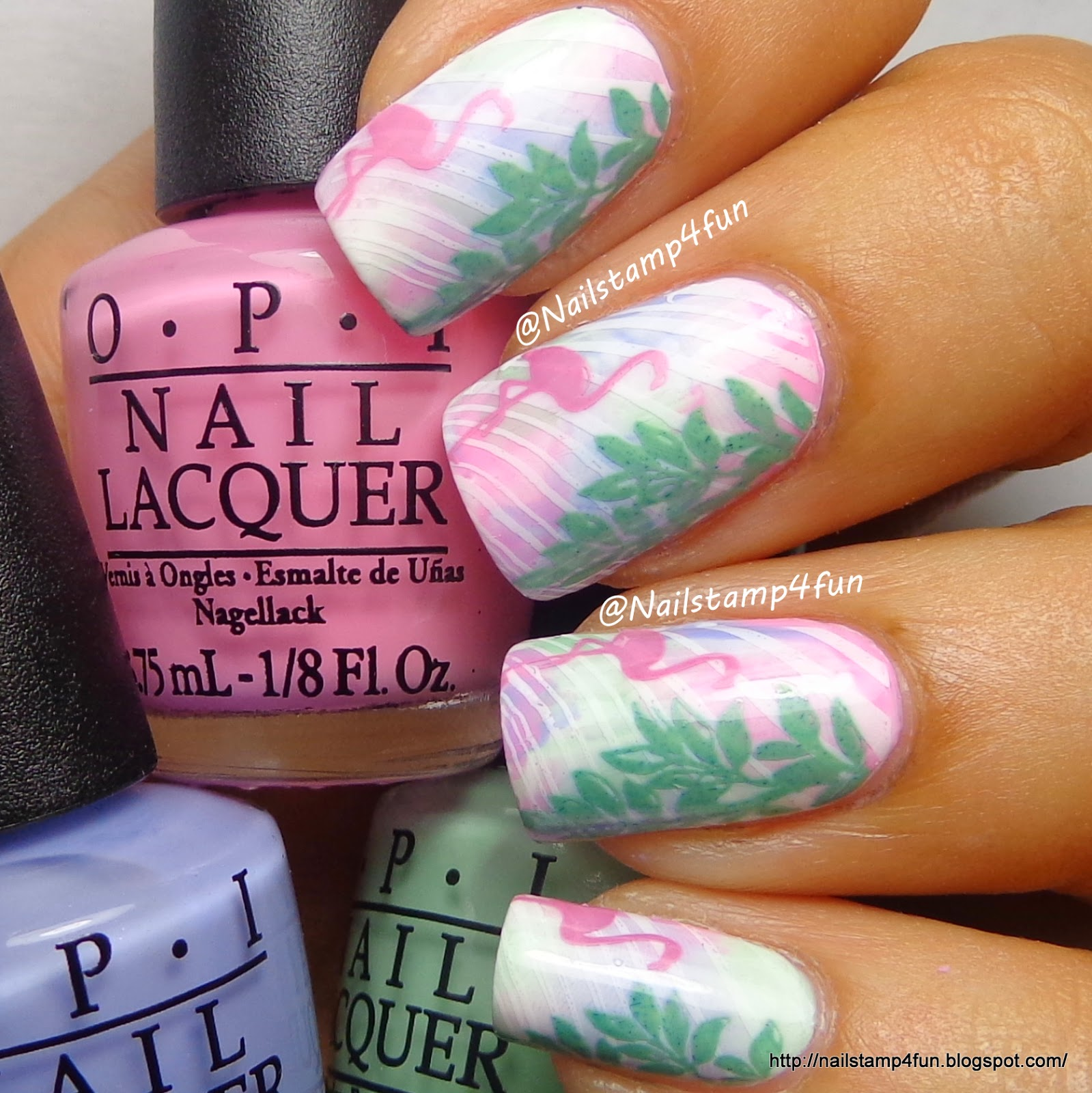 Nail Stamp 4 Fun: Flamingo Nails: Using Winstonia plates W119. W205 ...