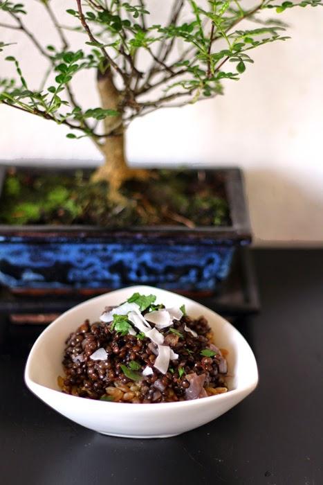 Curry aus schwarzen Linsen mit Grünkern und Kokoschips