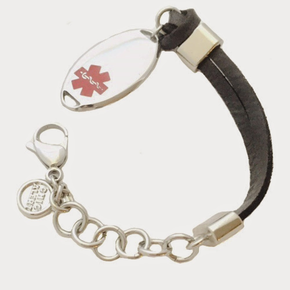 Leather & Stainless Steel Medcial ID Bracelet