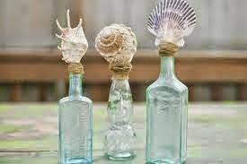 Conchas utilizados como tapón de botella de cristal tosco