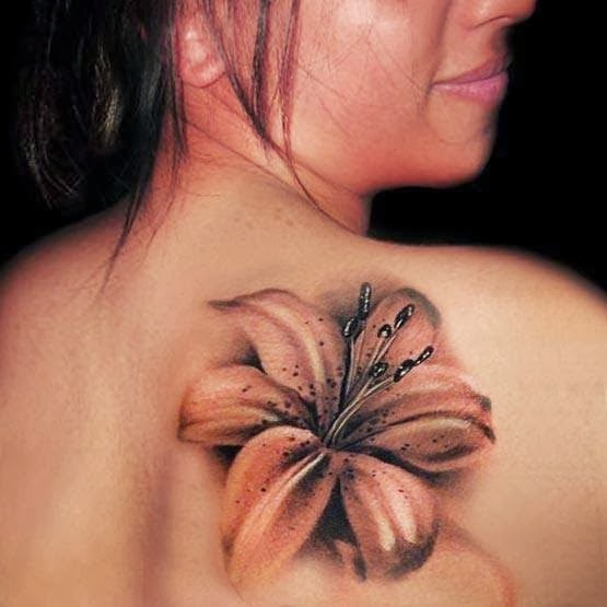 3D realistic flower tattoo on back