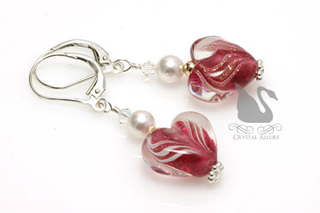 Secret Crush Crystal Heart Lampwork Beaded Earrings (E219-D2)