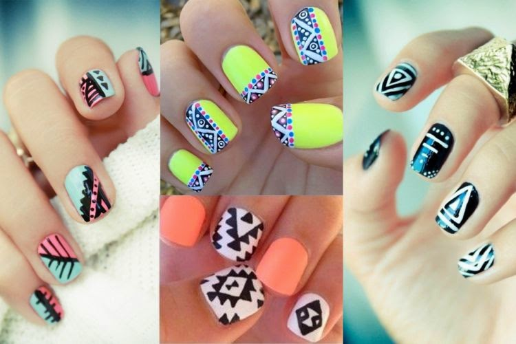 Winged beauty funtastic nail art designs you can try the new wave of tribal an aztec print that will simply look amazing if included in your nail design prinsesfo Image collections