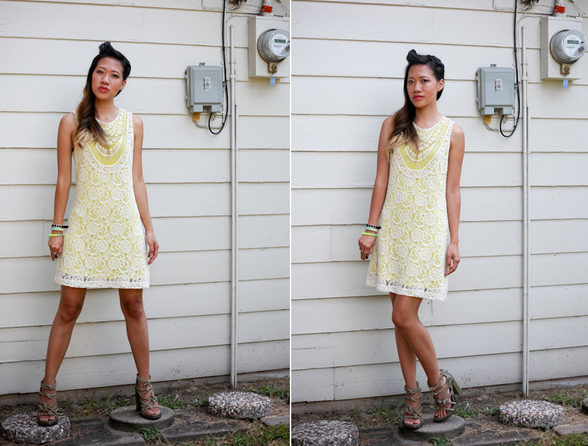 forever21 yellow and lace dress alexander wang  tempest sandals