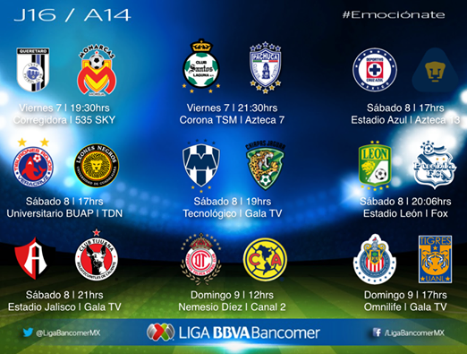 Este viernes arranca la Jornada 16 Liga MX