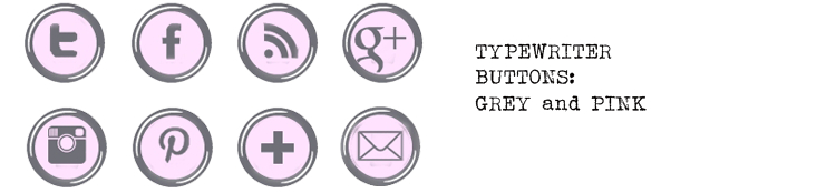 Free Social Media Buttons - typewriter grey and pink