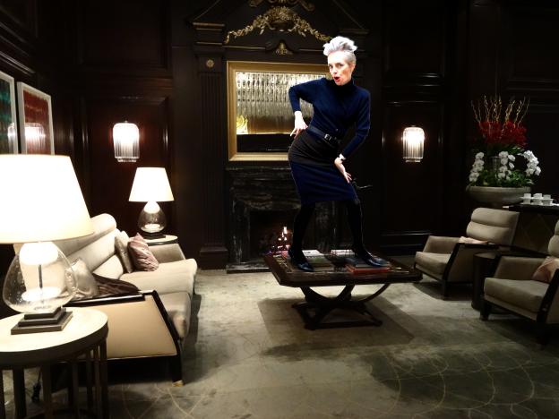 Mel Kobayashi parties in Hotel Georgia lobby