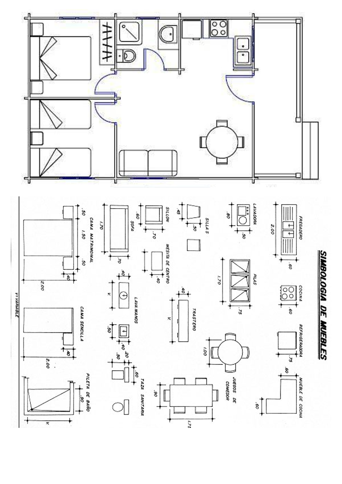 Tecnolog a y eso un ejercicio de acotaci n una ayuda for Simbologia de muebles para planos