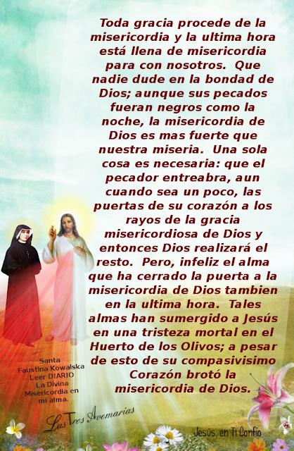 foto de jesus con palabras de santa faustina acerca de la ultima hora