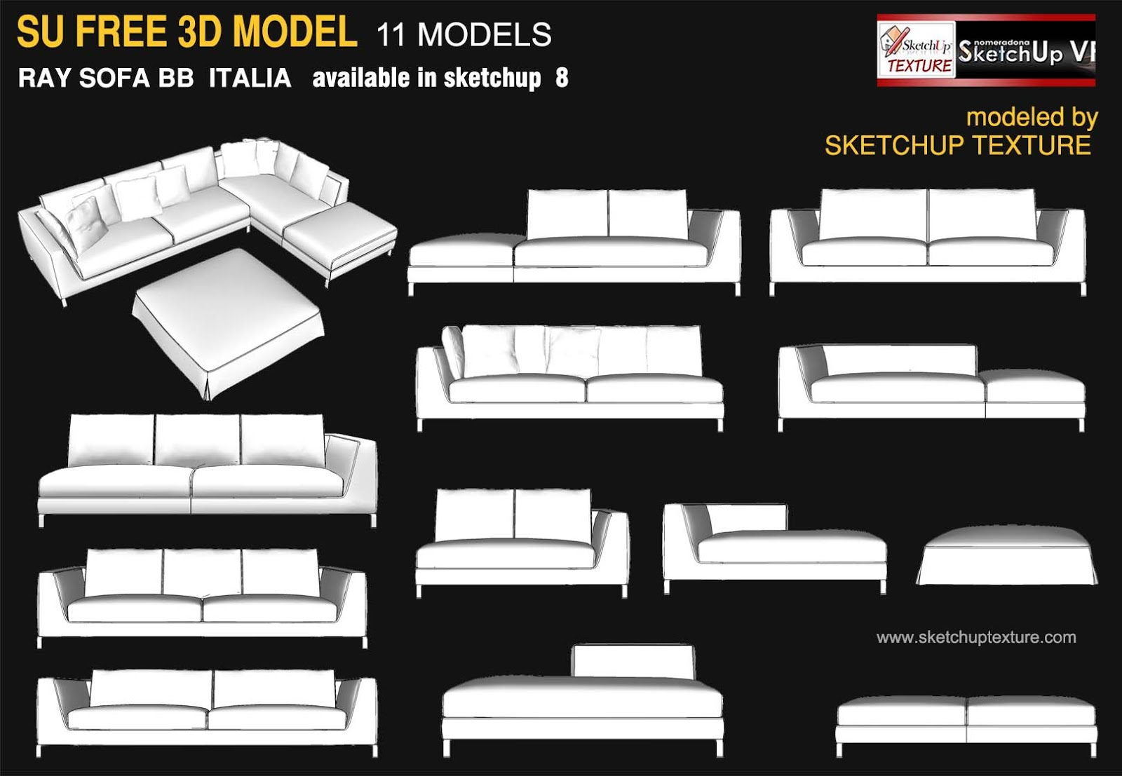 free Sketchup 3d model Ray Sofa BB Italia modules by skethuptexture.com