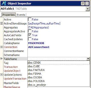 Nastavení vlastností komponenty FDTable