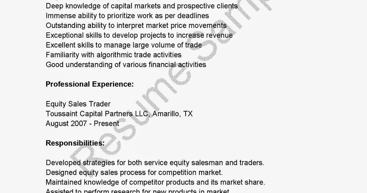 resume for equity - Sample Resume Equity Sales Trader