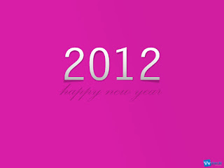 Happy New Year 2012 Simple Text Wallpaper Pink