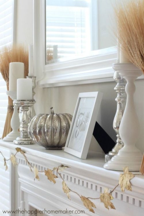 White and silver fall mantel decor