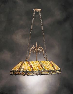Kichler 65101 Phoenix 3 Light Tiffany Pool Table Fixture Dore Bronze