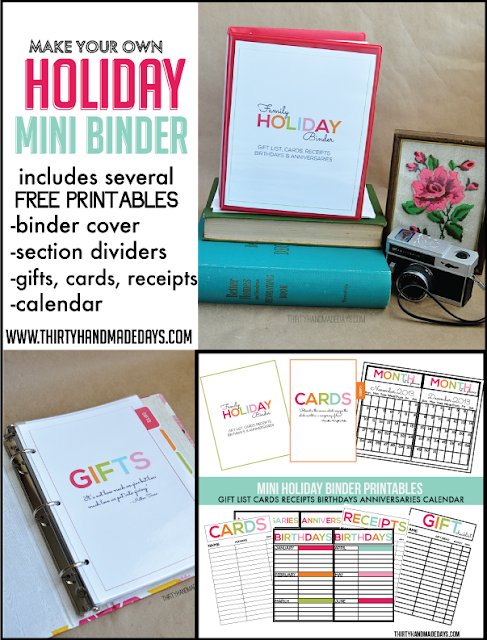 printable holiday binder organization