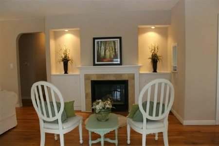 Fireplace staged for sale