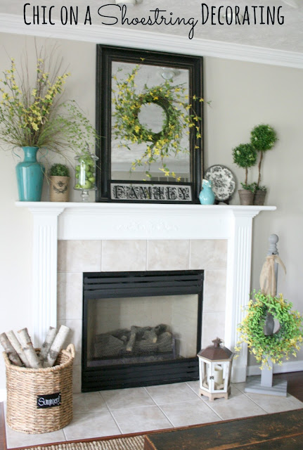 Summer Mantel: Turquoise, Yellow and Green by Chic on a Shoestring Decorating