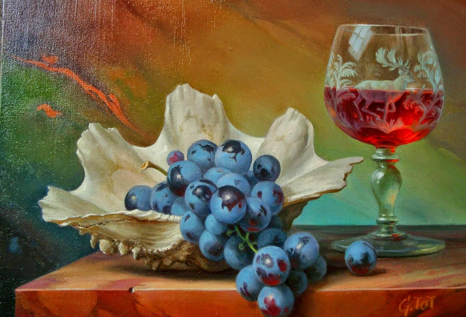 pinturas-de-bodegones-con-uvas-y-duraznos