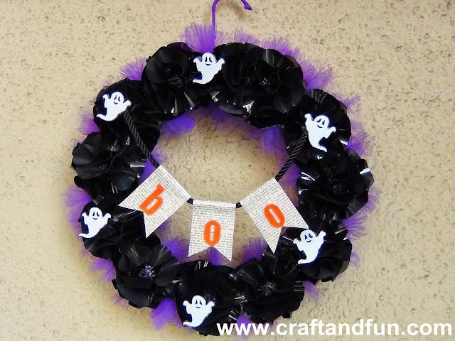 Riciclo creativo craft and fun ghirlanda per halloween - Decorazioni fai da te per halloween ...