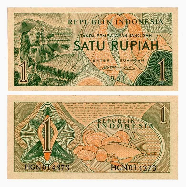 uang kuno seri Suku Bangsa tahun 1961 pecahan 1 rupiah dan 2 setengah rupiah