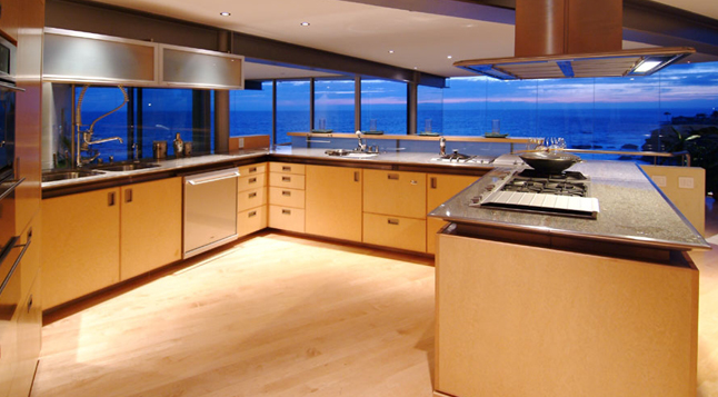 Picture of the modern large kitchen with the ocean view