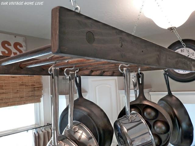 vintage home love express sign and a pot rack. Black Bedroom Furniture Sets. Home Design Ideas
