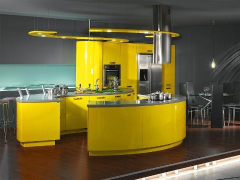 Cuisine design jaune arrondie - Cuisine jaune et grise ...