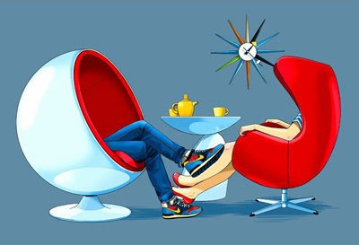Man and woman sitting in modern chairs.