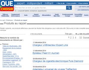 capture d'écran site Web Que Choisir