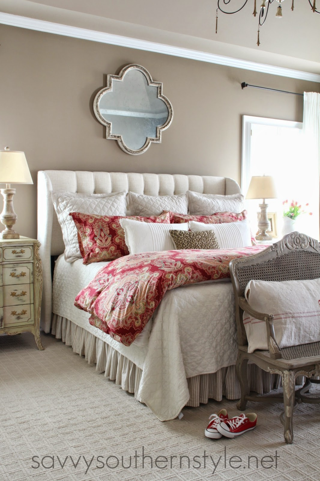 Savvy southern style my home 39 s paint colors Master bedroom with red bedding